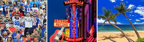 Banner including bills fans, Hilton Cabana, Miami, Nashville club and the Golden Gate Bridge